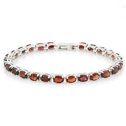 ***** FEATURE ITEM **** BRACELET - 12.70 CTW (25) OVAL FACETED GARNETS IN  925 STERLING SILVER SETTI