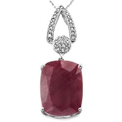 *NECKLACE SET - EXTRA LARGE CUSION CUT 11.19 CARAT GENUINE BURGUNDY RUBY & 29 GENUINE DIAMONDS IN 92