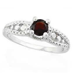 *RING - 1/2 CARAT GARNET & 2 GENUINE DIAMONDS IN 925 STERLING SILVER SETTING - SZ 7 - INCLUDES CERTI