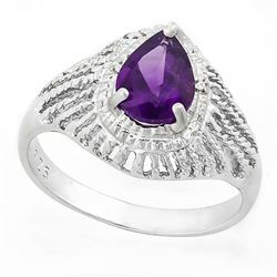 *RING - 1 CARAT AMETHYST & GENUINE DIAMONDS IN 925 STERLING SILVER SETTING - SZ 7 - INCLUDES CERTIFI