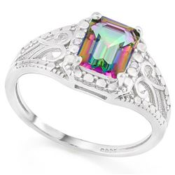 *RING - 1 1/3 CARAT MYSTIC GEMSTONE & GENUINE DIAMONDS IN 925 STERLING SILVER FILIGREE DESIGNED SETT
