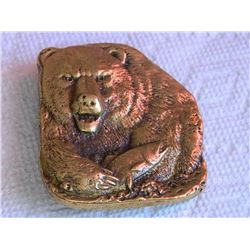 "BELT BUCKLE - BEAR IMAGE WITH FISH - BRASS - 2 3/4"" TALL X  2 3/8"" WIDE"