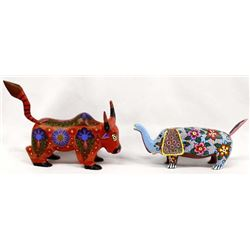 Pair of Mexican Carved Wood Alebrijes