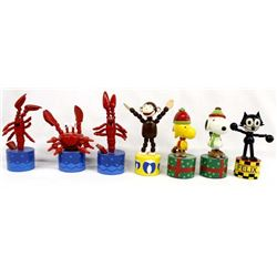 Collection of 7 Classic Wood Push Puppets