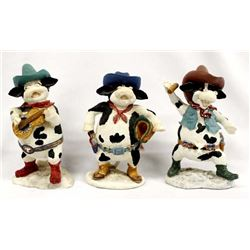3 Russ Berrie Home on the Range Cow Figurines