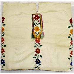 Mexican Woven & Embroidered White Cotton Caftan