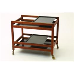 Serving cart, danish, teak och bakelit