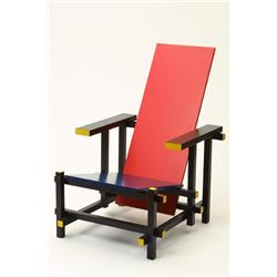 """Red and blue chair"", Gerrit Rietveld, Cassina"