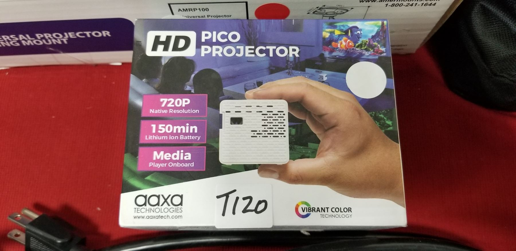 Image 1 AAXA HD Pico LED Projector With 150 Minute Rechargeable Battery 1280