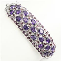 Natural  Intense Purple Amethyst Garnet Bangle