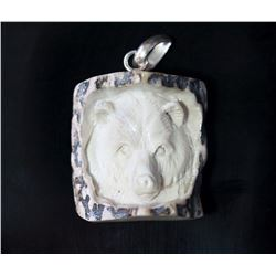 Hand Carved Antler Bear Pendant