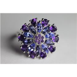 Natural Tanzanite & Amethyst Ring