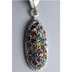 Natural Fancy Sapphire & Red Ruby Pendant