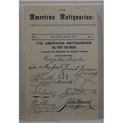 Koschal: (Signed) The American Antiquarian: The First Ten Issues