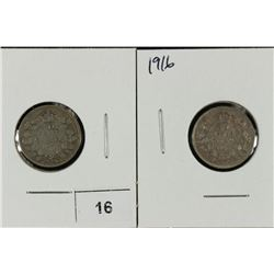 1913 AND 1916 CANADA SILVER 10 CENTS