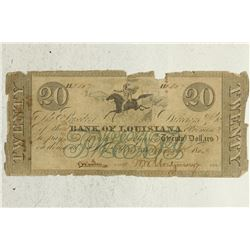 1863 BANK OF LOUISIANA $20 OBSOLETE BANK NOTE