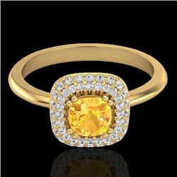 1.16 CTW Citrine & Micro VS/SI Diamond Ring Solitaire Double Halo 18K Yellow Gold - REF-72W9F - 2102