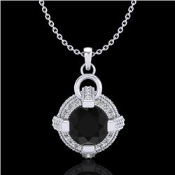 1.57 CTW Fancy Black Diamond Solitaire Micro Pave Stud Necklace 18K White Gold - REF-106H4A - 37632