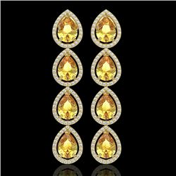 9.2 CTW Fancy Citrine & Diamond Halo Earrings 10K Yellow Gold - REF-154F2N - 41326