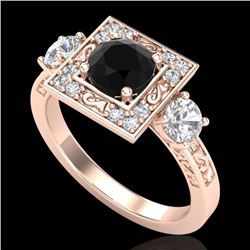 1.55 CTW Fancy Black Diamond Solitaire Art Deco 3 Stone Ring 18K Rose Gold - REF-149K3W - 38172