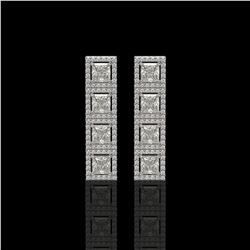 5.31 CTW Princess Diamond Designer Earrings 18K White Gold - REF-978K4W - 42638
