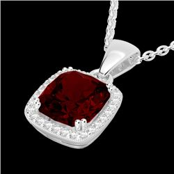 3 CTW Garnet & Micro VS/SI Diamond Pave Halo Solitaire Necklace 18K White Gold - REF-50N9Y - 22823