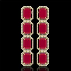20.59 CTW Ruby & Diamond Halo Earrings 10K Yellow Gold - REF-230Y9K - 41575