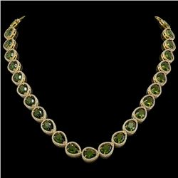 41.6 CTW Tourmaline & Diamond Halo Necklace 10K Yellow Gold - REF-768F4N - 41209