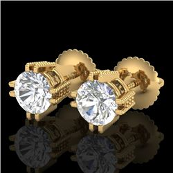 1.07 CTW VS/SI Diamond Solitaire Art Deco Stud Earrings 18K Yellow Gold - REF-200A2X - 36913