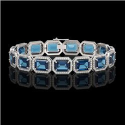 35.61 CTW London Topaz & Diamond Halo Bracelet 10K White Gold - REF-337A3X - 41558