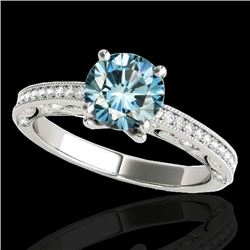 1.25 CTW Si Certified Blue Diamond Solitaire Antique Ring 10K White Gold - REF-163X6T - 34743