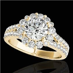 2.01 CTW H-SI/I Certified Diamond Solitaire Halo Ring 10K Yellow Gold - REF-209W3F - 33933