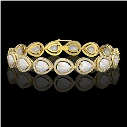 17.15 CTW Opal & Diamond Halo Bracelet 10K Yellow Gold - REF-321F6N - 41251