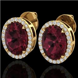 5.50 CTW Garnet & Micro VS/SI Diamond Halo Earrings 18K Yellow Gold - REF-62W2F - 20252