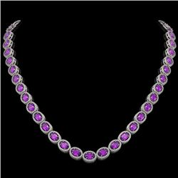 29.38 CTW Amethyst & Diamond Halo Necklace 10K White Gold - REF-503F5N - 40439