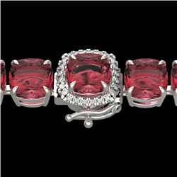 40 CTW Pink Tourmaline & Micro VS/SI Diamond Halo Bracelet 14K White Gold - REF-476A5X - 23319