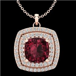 2.27 CTW Garnet & Micro Pave VS/SI Diamond Halo Necklace 14K Rose Gold - REF-53X8T - 20456