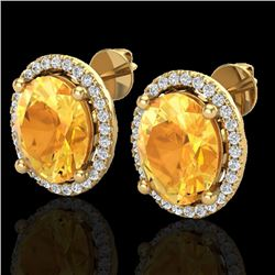 5 CTW Citrine & Micro Pave VS/SI Diamond Earrings Halo 18K Yellow Gold - REF-73H6A - 21052