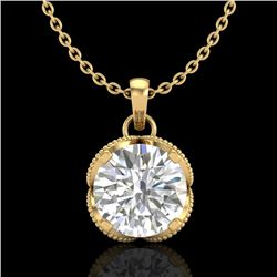 1.13 CTW VS/SI Diamond Solitaire Art Deco Necklace 18K Yellow Gold - REF-217K3W - 36865