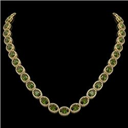 49.46 CTW Tourmaline & Diamond Halo Necklace 10K Yellow Gold - REF-763W6F - 40576