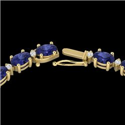 34 CTW Tanzanite & VS/SI Diamond Eternity Tennis Necklace 10K Yellow Gold - REF-281F8N - 21607