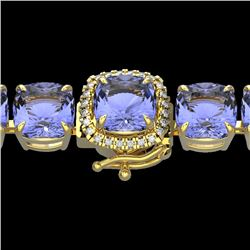 40 CTW Tanzanite & Micro VS/SI Diamond Halo Designer Bracelet 14K Yellow Gold - REF-548K2W - 23326