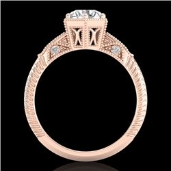 1.17 CTW VS/SI Diamond Solitaire Art Deco Ring 18K Rose Gold - REF-381T8M - 37215