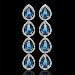 11.2 CTW London Topaz & Diamond Halo Earrings 10K White Gold - REF-159A5X - 41318