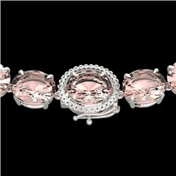 148 CTW Morganite & VS/SI Diamond Halo Micro Solitaire Necklace 14K White Gold - REF-1719F8N - 22306