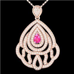 2 CTW Pink Sapphire & Micro Pave VS/SI Diamond Designer Necklace 14K Rose Gold - REF-178K2W - 21266