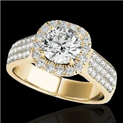 1.8 CTW H-SI/I Certified Diamond Solitaire Halo Ring 10K Yellow Gold - REF-258N2Y - 34062