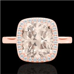 3 CTW Morganite & Micro Pave VS/SI Diamond Halo Solitaire Ring 14K Rose Gold - REF-63H6A - 22847