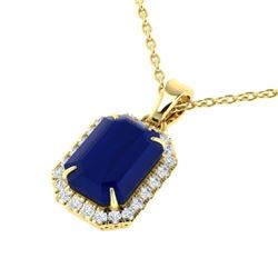 5.50 CTW Sapphire & Micro Pave VS/SI Diamond Halo Necklace 18K Yellow Gold - REF-70M2H - 21368