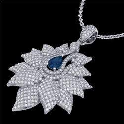 3 CTW Sapphire & Micro Pave VS/SI Diamond Designer Necklace 18K White Gold - REF-257X3T - 22565